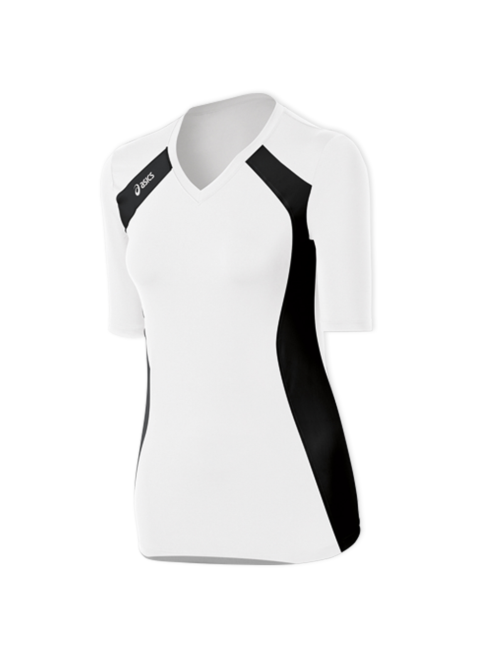 ad2d77c9bf0 ASICS Aggressor 3/4 Sleeve Jersey - White/Black | Midwest Volleyball ...