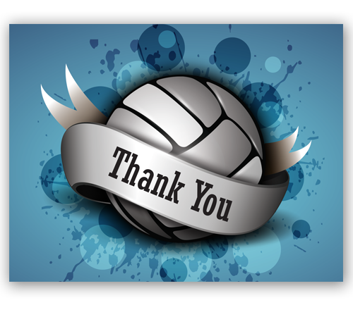 Blue Splash Thank You Cards Midwest Volleyball Warehouse