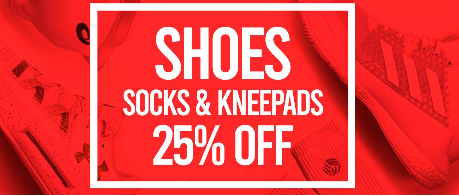 Shoes, Socks, kneepads 25% off